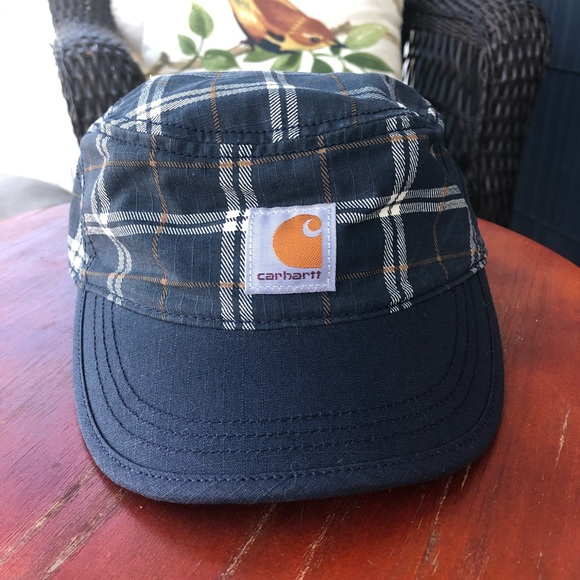 Carhartt Blue Plaid Adjustable Cotton Hat